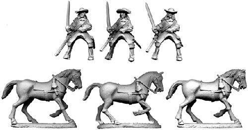 Französische Kavalleristen im Lederrock mit Karabiner