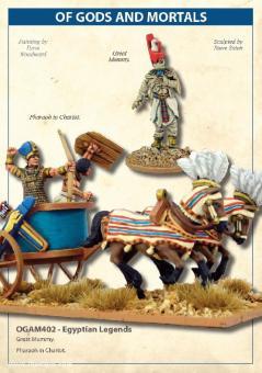 Ägyptische Legenden: Große Mumie und Pharao auf Streitwagen