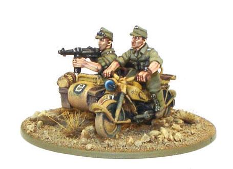 Afrika Korps Kradschützen auf Motorrad mit Beiwagen