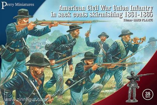 Unions Infanterie in Sack-Uniform - plänkelnd