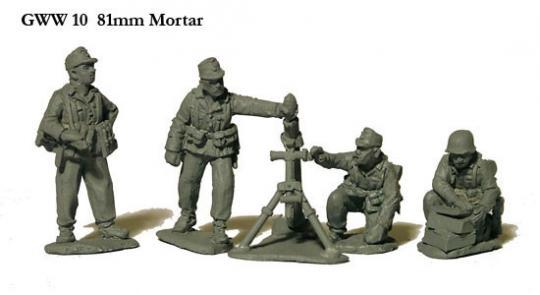 81 mm Mörser mit Bedienung