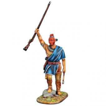 Waldlandindianer-Häuptling mit erhobener Muskete