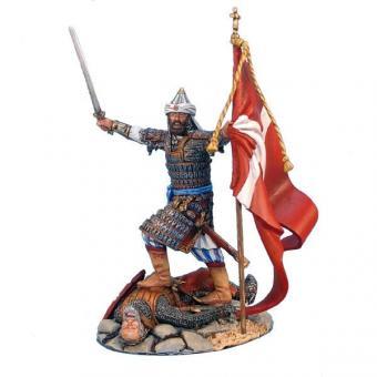 Mameluken-Anführer mit eroberter Fahne und gefallenem Kreuzritter