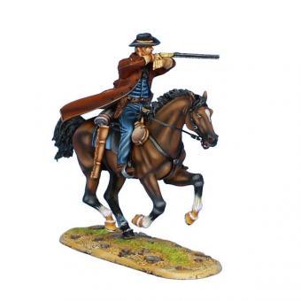 Revolverheld mit Henry Gewehr (um 1860) zu Pferd