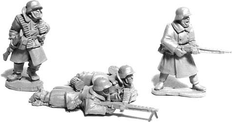 Deutsche MG42 Trupps im Mantel