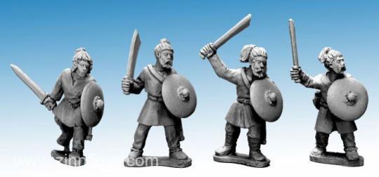Sächsische Krieger mit Schwertern