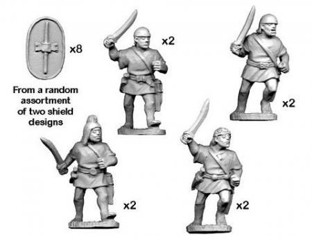 Spanische Scutarii mit Schwertern - im Angriff