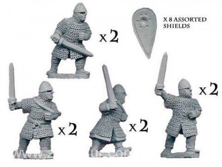 Normannische Ritter zu Fuß mit Schwertern