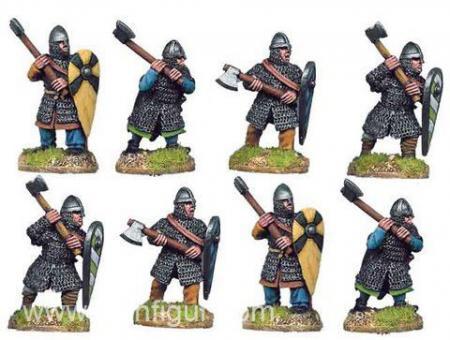 Normannische Ritter zu Fuß mit Äxten