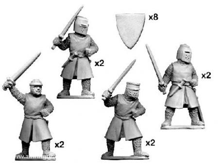 Ritter zu Fuß mit Schwertern