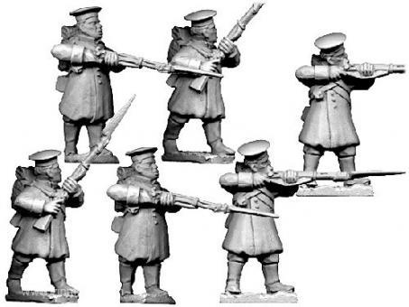 Russische Infanterie mit Mützen feuernd