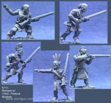 Mohikaner-Krieger mit Musketen des 17. Jh.