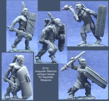 Irokesen-Krieger mit offenen Händen für separate Waffen