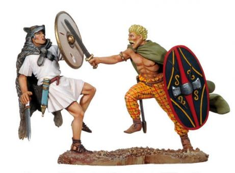 Römischer Veles und Keltischer Krieger im Kampf