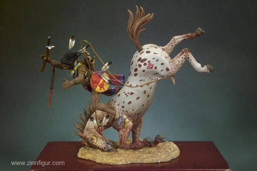 Sioux-Indianer mit Pferd stürzend