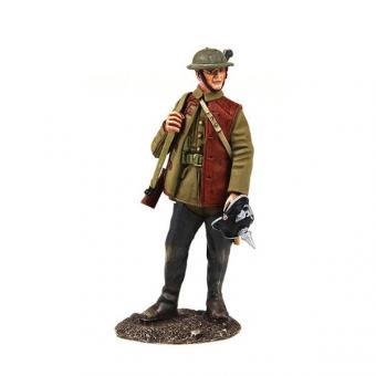 1916-18 British Infantry Standing with Souvenir German Helmet