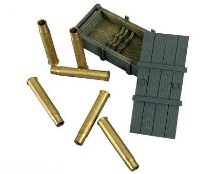 German 88mm DP Gun Crate and Empty Shells - 8 Piece Set