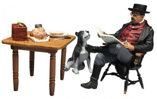 """""""Coffee, News and a Loyal Friend"""" Civilian Man at Breakfast with Dog"""