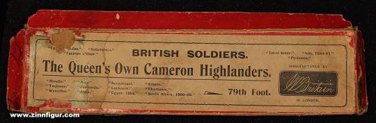 Britain: Deckel für Leerkarton Cameron Highlanders, 1871 bis 1918