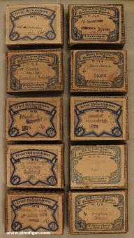 Heinrichsen: 10 Heinrichsen Pappschachteln (leer)