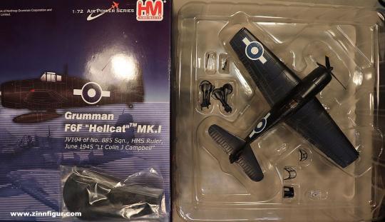"Diverse Hersteller: Hobby Master 1:72 HA1111 Grumman F6F ""Hellcat"" MK.I JV104 of No. 885 Sqn, HMS Ruler ""Lt Colin J Campbell"", 1943 bis 1945"