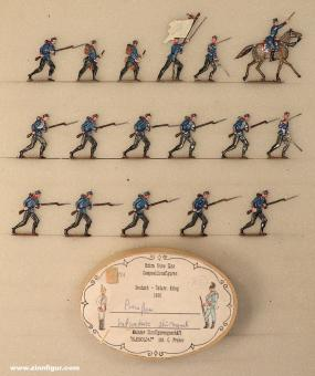Diverse Hersteller: Infanterie mit Feldmütze im Angriff, 1866
