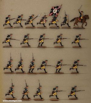 Berliner Zinnfiguren: Musketiere stürmend, 1712 bis 1786