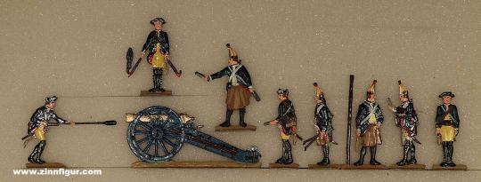 Berliner Zinnfiguren: Artillerie auswischend (mit Kanone), 1712 bis 1786