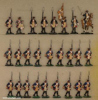 Berliner Zinnfiguren: Musketiers advancing, 1712 bis 1786