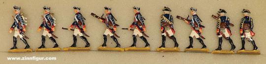 Berliner Zinnfiguren: Hauboisten vorgehend, 1712 bis 1786