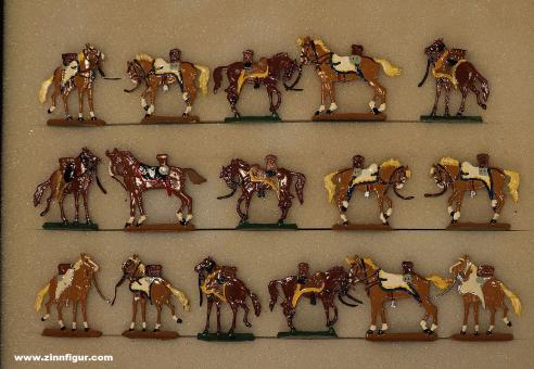 Kieler Zinnfiguren: Husarenpferde gesattelt stehend, 1712 bis 1786