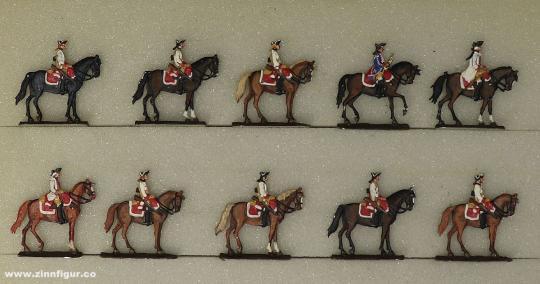 Verschiedene Hersteller: Kavallerie im Halt 20 mm, 1712 bis 1786