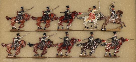 Kieler Zinnfiguren: Lanciers im Angriff, 1810 bis 1814