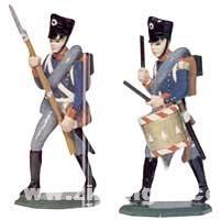 Schildkröt: Mold: two infantrymen, man and drummer, 1789 bis 1815