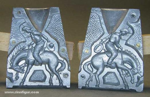Schneider/Replika: Aluminiumform: Cowboy zu Pferd, 19. Jh.