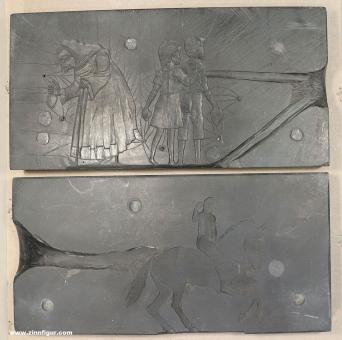 Romund: Schieferform: Hänsel und Gretel, Hexe und Frau auf Pferd (Großfiguren)