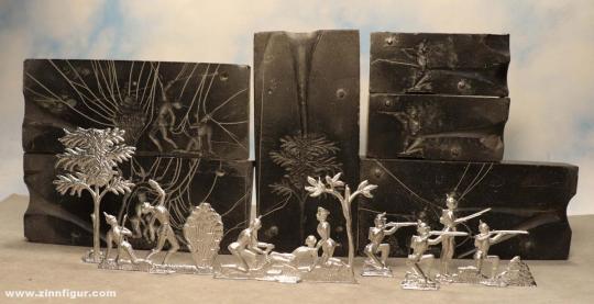 Wilke: Three molds of slate: Infantry on the battlefield, 1870/71, um 1860 bis 1910