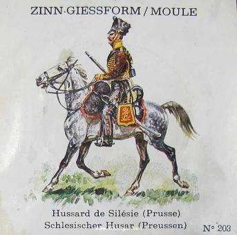 SCAD: Casting mold: Prussian hussar on horseback, trotting, 1789 bis 1815