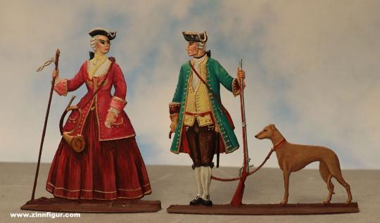 Berliner Zinnfiguren: Rokoko Jagdpaar, 1712 bis 1786