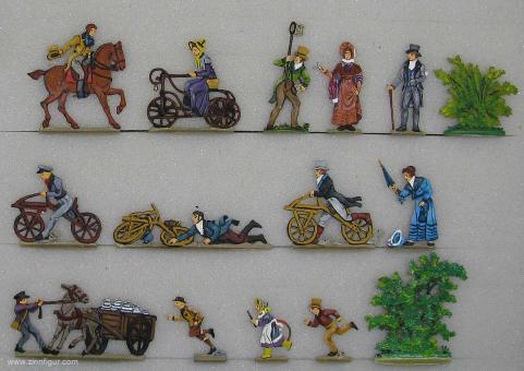 Berliner Zinnfiguren: Laufrad-Rennen um 1825, 1815 bis 1870