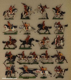 Verschiedene Hersteller: Pawnees und Osagen zu Pferd, 19. Jh.