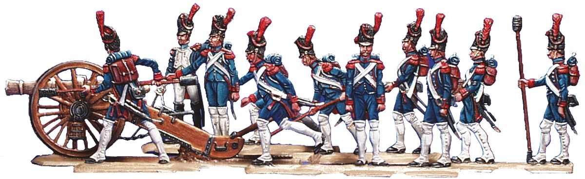 French foot artillery of the guard with 12 pounder gun  1804-15