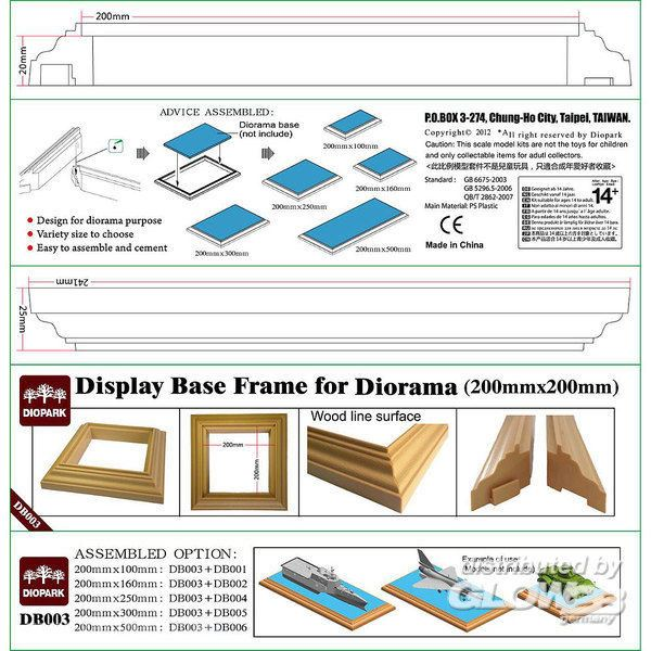 Display Base Frame for Diorama 20 x 20 cm